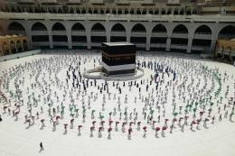 Suasana ibadah haji masa pandemi (sumber : kompas.com)