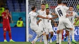Selebrasi gol pemain Itaia di pertandingan pembuka EURO 2020 (Sumber: twitter.com/azzurri)