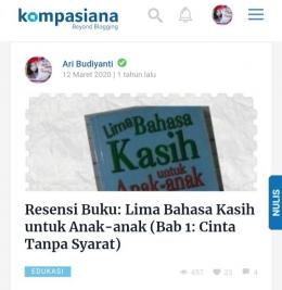 Dokpri tangkap layar tulisan Ari Budiyanti