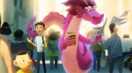 Naganya berwarna pink (sumber gambar: Netflix dalam Variety.com)