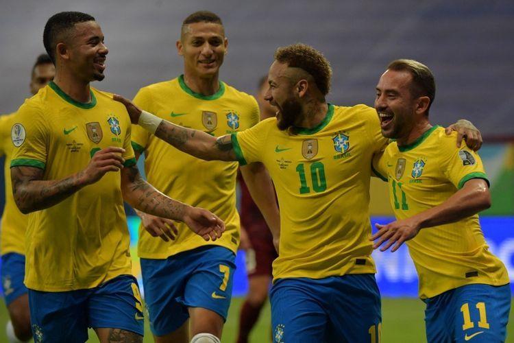 Selebrasi Neymar ketika menang 3-0 atas Venezuela di Copa America 2021 (FOTO AFP/Nelson Almeida via Kompas.com)