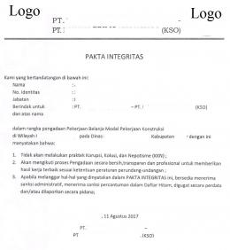 Contoh dokumen Pakta Integritas (dokumen pribadi)