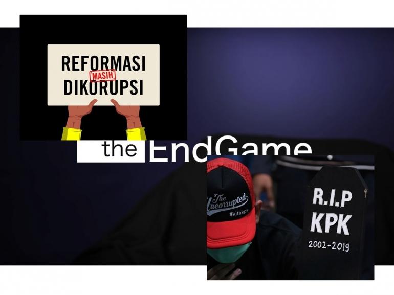 KPK, the end game | Gambar diambil dari Kumparan, Amnestyindo, dan Tangkapan layar film The End Game; diolah pribadi
