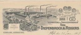"""Lith. exterieur DRU fabrieken met linksonder de neo-eclectische directievilla """"Zeno"""""""