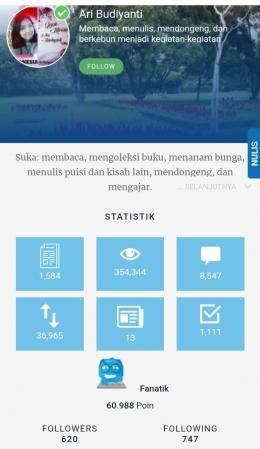 Dokpri: tangkap layar statistik akun Ari Budiyanti