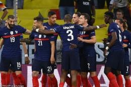 Pemain Prancis merayakan gol ke gawang Jerman. (via Getty Images)