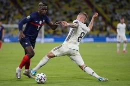 UEFA memilih Paul Pogba sebagai Man of the Match atau pemain terbaik laga Timnas Prancis vs Timnas Jerman di Grup F Euro 2020 pada Rabu (16/6/2021) dini hari WIB.| Sumber: AFP/MATTHIAS SCHRADER via Kompas.com