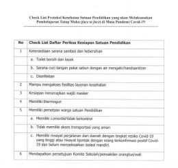 Contoh lembar daftar periksa PTM Terbatas | Sumber: Screenshot/Surat Dinas Pendidikan Kabupaten Probolinggo