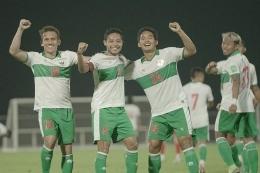 Skuad timnas Indonesia pada laga uji coba menjelang lanjutan Kualifikasi Piala Dunia 2022 Zona Asia di Uni Emirat Arab (UEA). (Dok. PSSI via komaps.com)