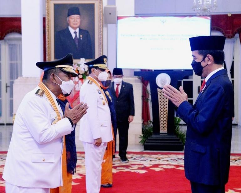 Presiden Jokowi melantik Gubernur dan Wakil Gubernur Sulteng terpilih.Doc Biro Pers Sekretariat Presidrn