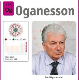 Oganesson dan penemunya, Yuri Oganessian, sumber: buku Periodic Table Book - A Visual Encyclopedia, hlm. 199.