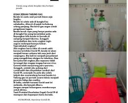 Foto tabung gas yang saya beri text untuk peringatan bahaya Covid 19 (Foto koleksi pribadi)