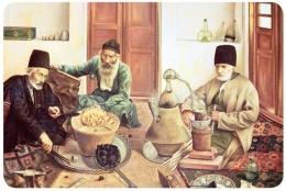 Para alkimiawan Iran di ruang kerja mereka, diadaptasi dari: buku Periodic Table Book - A Visual Encyclopedia, hlm. 9.