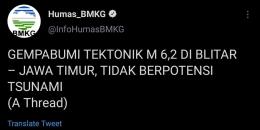 Penggunaan lema gempabumi di tulisan populer oleh BMKG. Sumber: Utas @InfoHumasBMKG