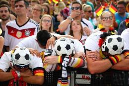 Ekspresi kekecewaan fans Jerman. Bola.bisnis.com