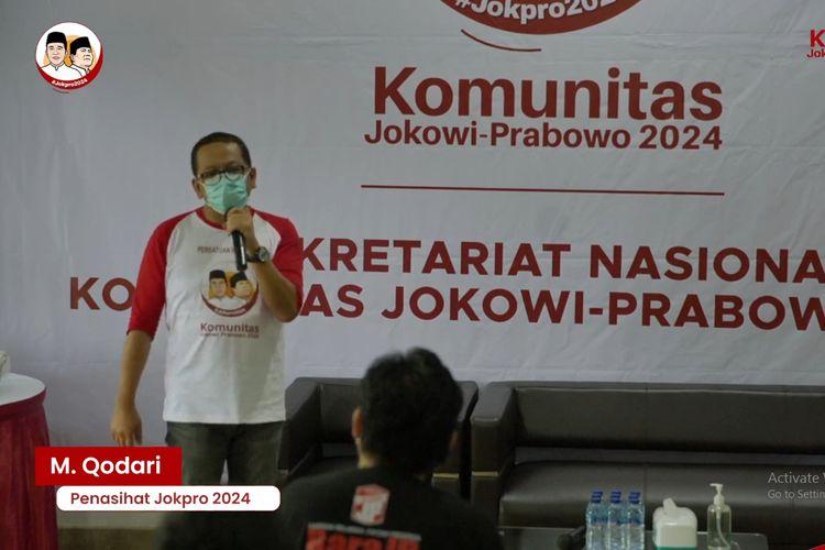 Direktur Eksekutif Indo Barometer dan penasehat JokPro 2024, M Qodari, dalam acara peluncuran sekretariat di Jakarta, 19/6/2021 (kompas.com).