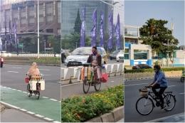 Gambar 9. Berbagai persona pengguna jalur sepeda terproteksi Jl. Sudirman -- Jl. Thamrin, sumber: Dokumentasi Pribadi
