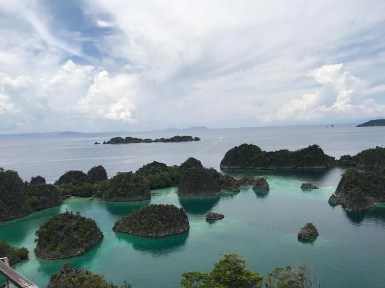 Piaynemo laksana lukisan kanvas alami mengisahkan jejeran pulau indah dipinggir laut (dok. pribadi)