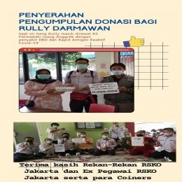 Deskripsi : Pegawai RSKO Jakarta mendonasikan 11 juta bagi rekan kerja yang tertimpa musibah I Sumber Foto : dokpri