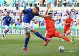 Matteo Pessina merayakan gol tunggal ke Wales. Inews.id
