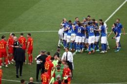 Pemain Italia merayakan kemenangan atas Wales 1-0 dan meraih 9 poin dari Grup A Euro 2020. Bola. Okezone.com