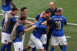 Selebrasi Tim Italia Usai Matteo Pessina mencetak gol . Sumber : UEFA Euro 2020 .