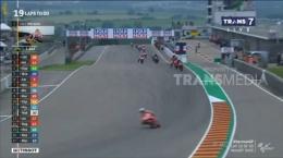 Jarak sudah berhasil dibuat Marc di sepertiga awal balapan. Sumber: Motogp/Transmedia/Trans7