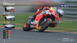 Namun di putaran terakhir Marc berusaha keras menjauh dari Oliveira. Sumber: Motogp/Transmedia/Trans7