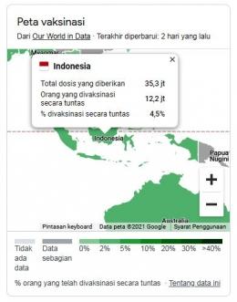 Tampilan Peta Vaksinasi di Indonesia. Sumber: Screenshot hasil pencarian google terkait lokasi vaksin/google.com/