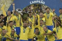 Brasil juara Copa America 2019. Sumber: AFP/CARL DE SOUZA/via Kompas.com