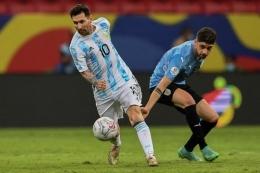 Duel Argentina vs Uruguay di Copa America 2021 dimenangkan Argentina (1-0). Sumber: AFP/EVARISTO SA/via Kompas.com