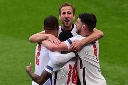 Selebrasi gol pemain Timnas Inggris ke gawang Republik Ceko (Kompas.com)