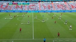 Skema bertahan Jerman dengan lima bek. (Foto : akun twitter @ruangtaktik)