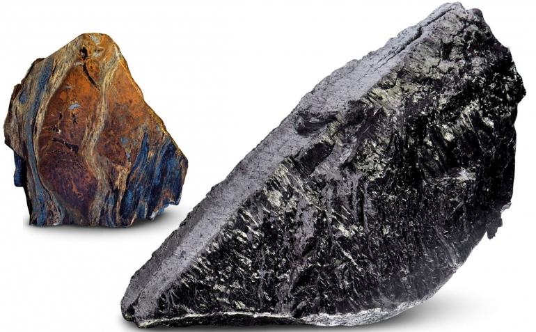Mineral Bastnasite, sumber Lantanum murni, dan Lantanum murni. Sumber: buku Periodic Table Book - A Visual Encyclopedia, hlm. 110.