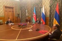 Perjanjianperdamaian Armenia-Azerbaijan yang ditengahi Rusia (Foto: Russian Foreign Ministry)