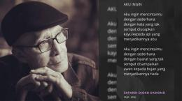 Foto Sapardi Djoko Darmono dan puisi