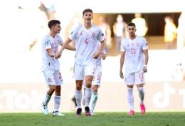 Aymeric Laporte (Spanyol) bersama rekan-rekannya melakukan selebrasi gol . Sumber: UEFA Euro 2020