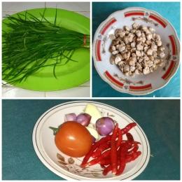 Bahan-bahan untuk membuat sambal pengap kucai. (Foto NURSINI RAIS)