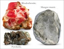 Rhodochrosite, Pyrolusite, dan Mangan murni. Sumber: buku Periodic Table Book - A Visual Encyclopedia, hlm. 58-59.