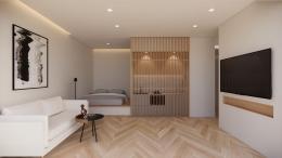 Semi-concealed bedroom. Picture by Viviani Novarine, Universitas Kristen Petra.