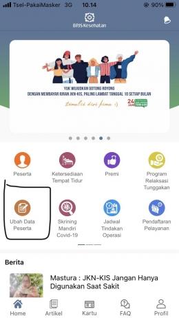 Halaman Depan Aplikasi Mobile JKN BPJS Kesehatan | Dokumentasi Pribadi