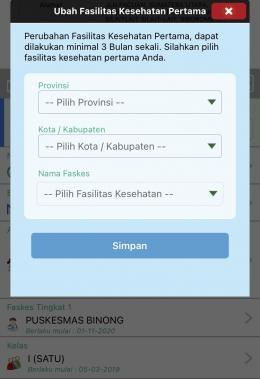 Pop Up Pindah Faskes di Aplikasi Mobile JKN | Dokumentasi Pribadi