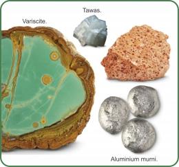 Mineral Aluminium dan Aluminium murni. Sumber: buku Periodic Table Book - A Visual Encyclopedia, hlm. 132.
