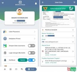 Tampilan aplikasi Mobile JKN untuk mengubah data keanggotaan