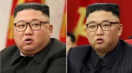 Penampakan Kim Jong Un 8 February 2021 (kiri) dan tanggal 15 Juni 2021. Sumber: AP: Korea News Service