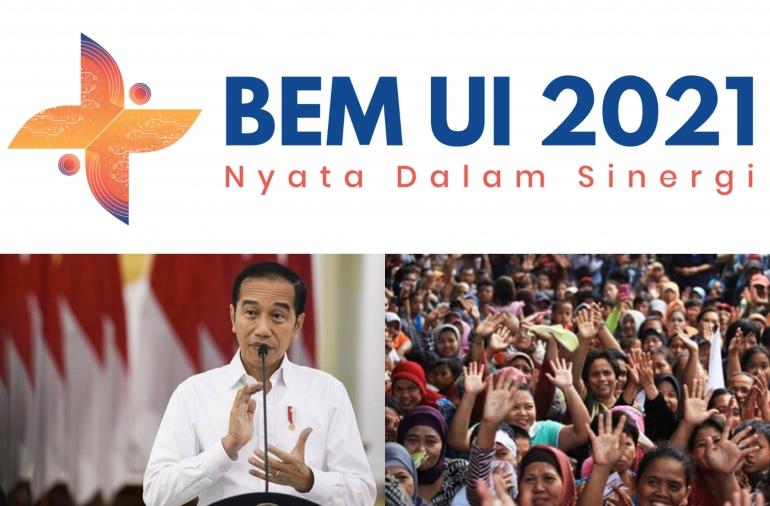 Kolase dari tiga foto/dokpri (logo BEM UI dari bem.ui.ac.id , foto Jokowi dari nasional.kompas.com , dan foto rakyat dari net.com)