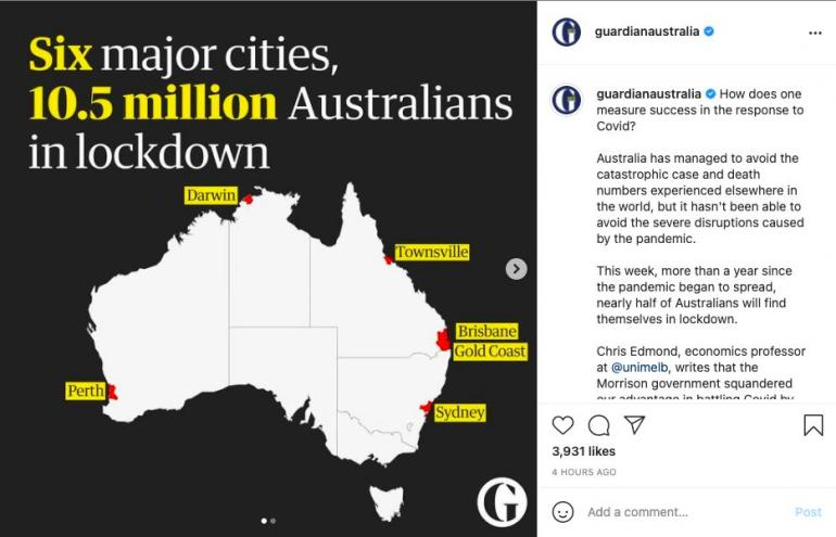 Tangkapan layar postingan Instagram @guardianaustralia