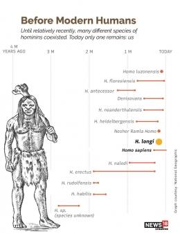 Rentang waktu evolusi manusia dan posisi Manusia Naga (Homo longi). Sumber:news18.com