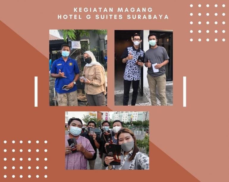 Mahasiswa Untag Surabaya berfoto dengan masyarakat./Dokpri