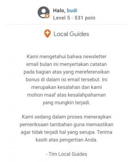 Tangkapan layar email dari Tim Local Guides Google (dokumen pribadi)